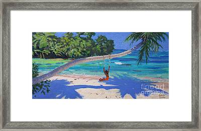 Girl On A Swing, Seychelles Framed Print by Andrew Macara