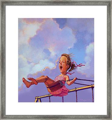 Girl On A Swing Framed Print by Valer Ian