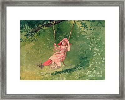 Girl On A Swing Framed Print by Winslow Homer