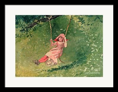 Girl On Swing Framed Prints