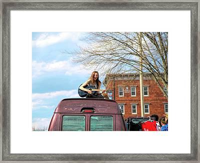 Girl On A Van Framed Print