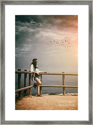 Girl On Fence Framed Print