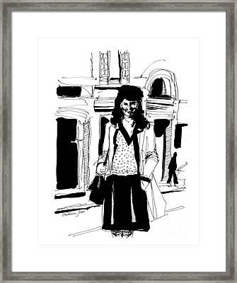 Girl On Street Framed Print
