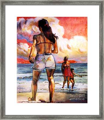 Girl On The Beach Framed Print by Stan Esson
