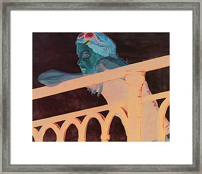 Framed Print featuring the painting Girl On The Rail by Kevin Callahan