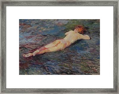 Girl On Volcanic Beach, Spain Framed Print