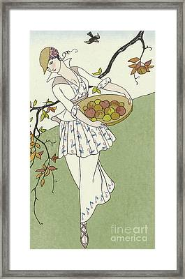 Girl Picking Apples Framed Print