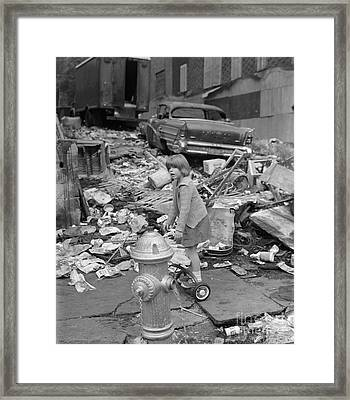 Girl Playing In The Bronx, C.1960s Framed Print