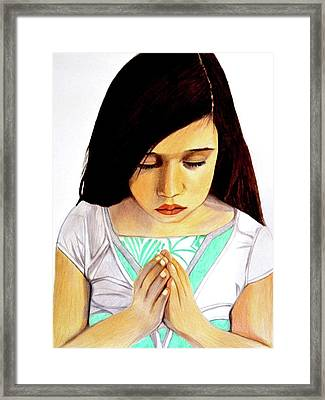 Girl Praying Drawing Portrait By Saribelle Framed Print by Saribelle Rodriguez