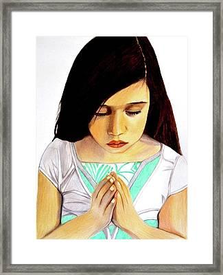 Girl Praying Drawing Portrait By Saribelle Framed Print