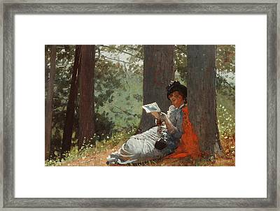 Girl Reading Under An Oak Tree Framed Print by Winslow Homer