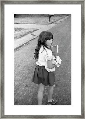 Girl Returns Home From School, 1971 Framed Print