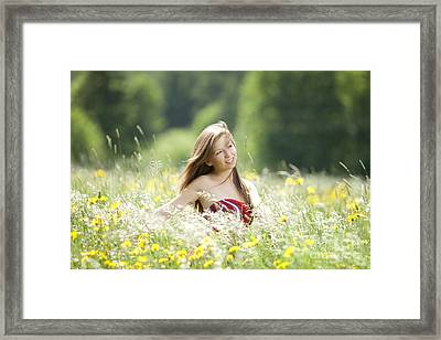 Girl Revolves Cheerfully In A Meadow Framed Print by Wolfgang Steiner