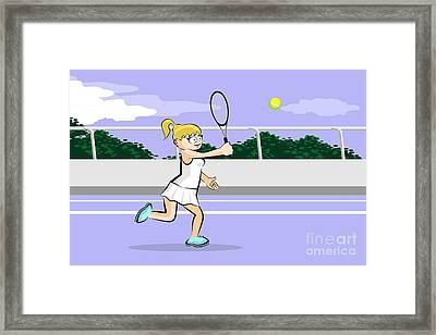 Girl Runs To Hit The Tennis Ball With Her Racket On A Blue Synth Framed Print
