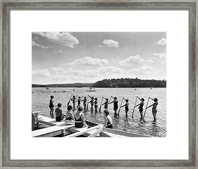 Girl Scout Canoe Lessons Framed Print by Underwood Archives