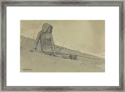 Girl Seated On A Hillside Framed Print by Winslow Homer