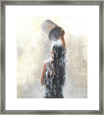Girl Showering Framed Print