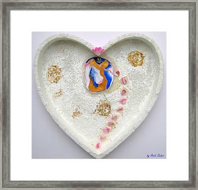 Girl Spreading Hearts Whole Artwork Framed Print by Heidi Sieber