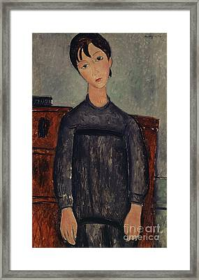 Girl Standing In A Black Pinafore, 1918  Framed Print