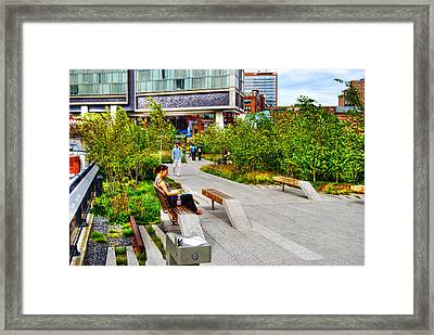 Girl Uninterrupted On The High Line Framed Print by Randy Aveille