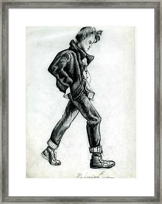 Girl Walking Self Portrait Framed Print