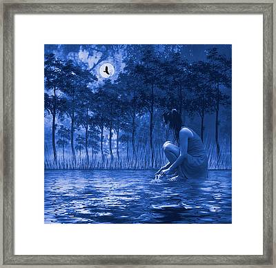 Framed Print featuring the photograph Girl Washing At The River by Diane Schuster