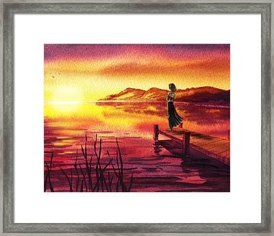 Girl Watching Sunset At The Lake Framed Print