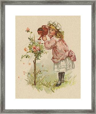 Girl Watering Roses Framed Print by English School