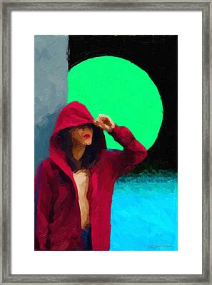 Girl Wearing A Maroon Hoodie Framed Print by Serge Averbukh