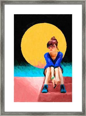 Girl Wearing Teal Sneakers Framed Print by Serge Averbukh