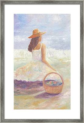 Girl With A Basket Framed Print