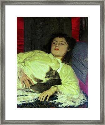 Girl With A Cat 1882 Framed Print