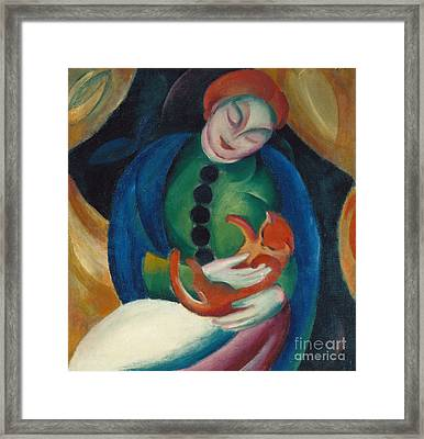 Girl With A Cat II Framed Print by Franz Marc
