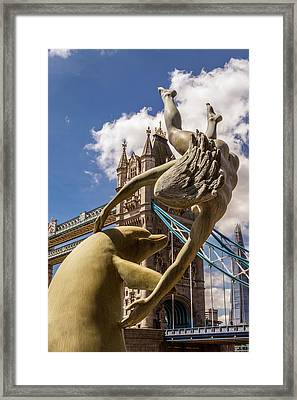 Girl With A Dolphin Fountain Framed Print