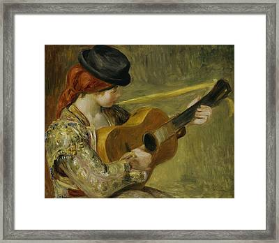 Girl With A Guitar Framed Print by Pierre Auguste Renoir