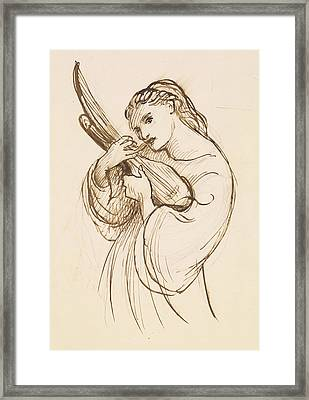 Girl With A Musical Instrument Framed Print by Dante Gabriel Rossetti