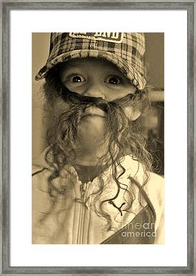 Girl With A Mustache 1 Framed Print by Sarah Goodbread