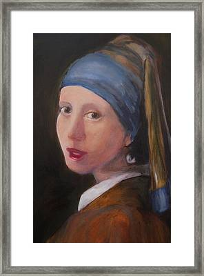Girl With A Pearl Earring - Reproduction Framed Print by Lisa Konkol