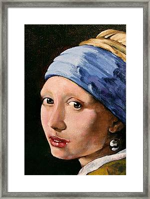 Girl With A Pearl Earring A Reproduction Of Vermeer Framed Print