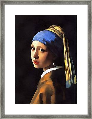 Girl With A Pearl Earring After Johannes Vermeer Framed Print by Tracey Harrington-Simpson