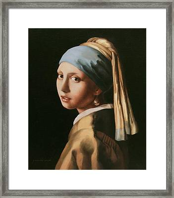 Girl With A Pearl Earring - After Vermeer Framed Print