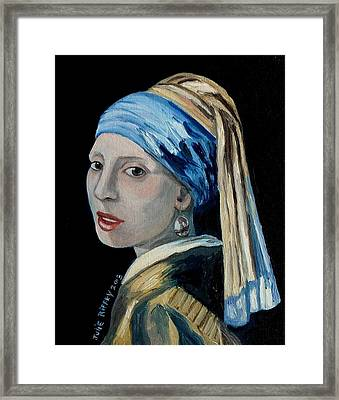 Girl With The Pearl Earring -inspired By Johannes Vermeer Framed Print by Julie Brugh Riffey