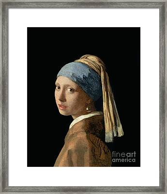 Girl With A Pearl Earring Framed Print by Jan Vermeer