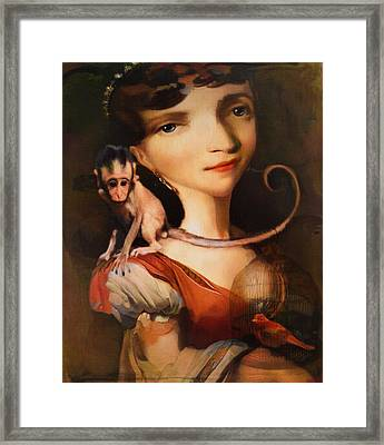 Framed Print featuring the photograph Girl With A Pet Monkey by Sharon Jones