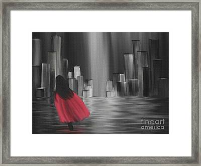 Girl With A Red Cape Framed Print