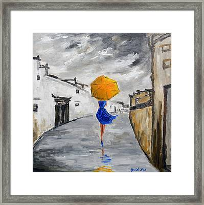 Girl With A Yellow Umbrella Framed Print by Daniel Xiao