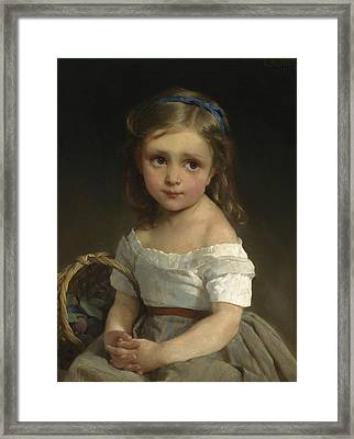 Girl With Basket Of Plums Framed Print by Emile Munier