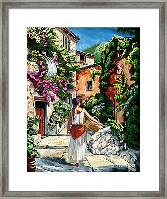 Girl With Basket On A Greek Island Framed Print