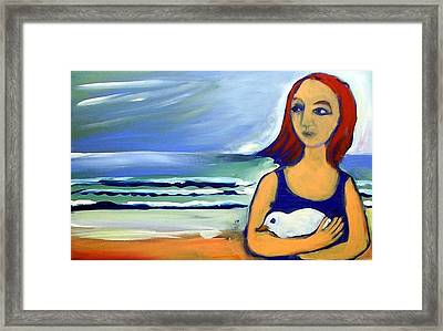 Girl With Bird Framed Print