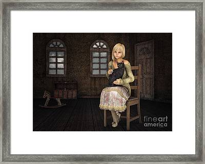 Girl With Black Cat Framed Print by Jutta Maria Pusl